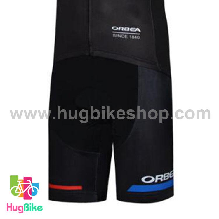 กางเกงจักรยานขาสั้นทีม Orbea 17 (01) สีดำน้ำเงินขาว