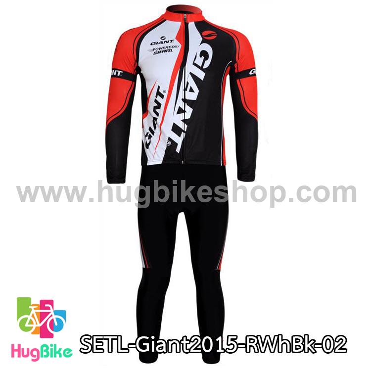 ชุดจักรยานแขนยาวทีม Giant 15 สีแดงขาวดำ (02)