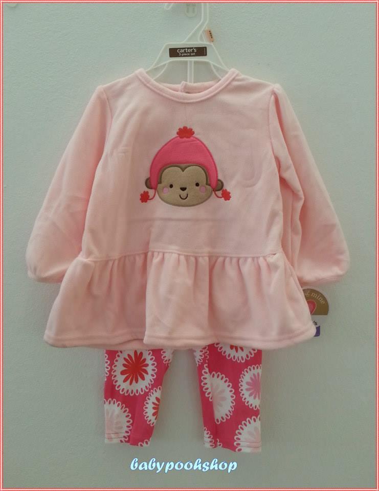 Carter's : ชุดเซ็ท เสื้อแขนยาวผ้าสำลีสีชมพูปักลิงน้อยใส่หมวก พร้อมกางเกงเลกกิ้งลายดอกไม้ size : 12m / 24m