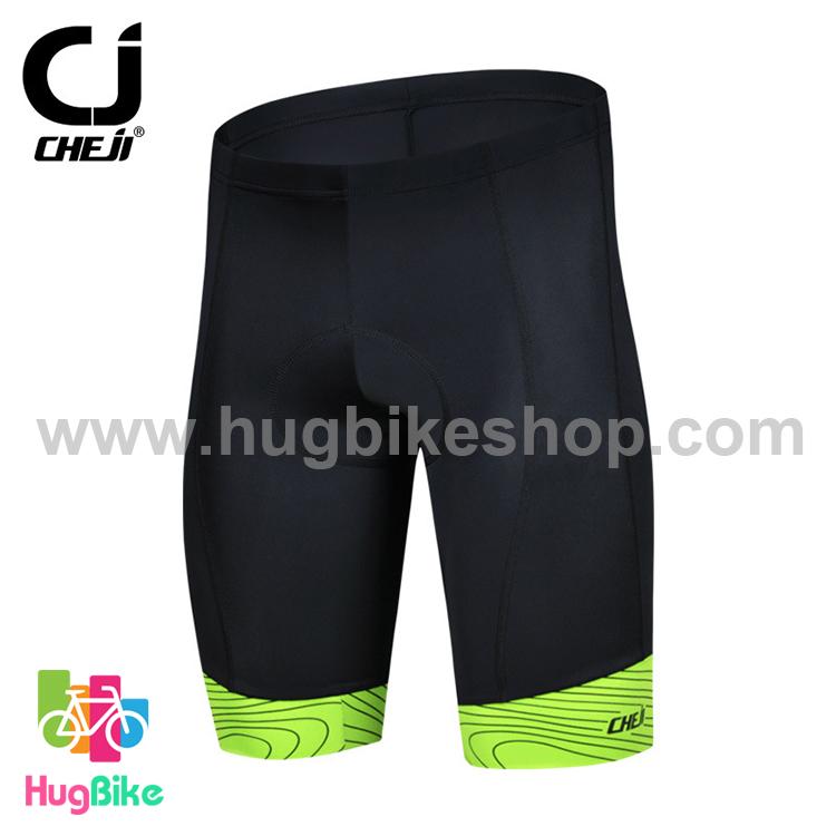 กางเกงจักรยานขาสั้น CheJi สีดำ ขอบเขียว