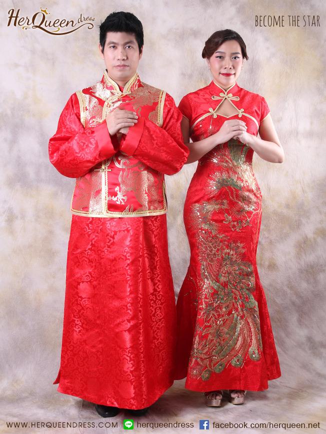 เช่าชุดแฟนซี จีน &#x2665 ชุดจีนวินเทจ เซ็ทหงส์คู่มังกร - คู่