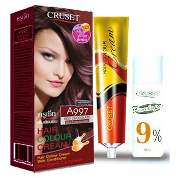 ครูเซ็ท ครีมย้อมผม รุ่น A เอ 997 สีช็อกโกแลตประกายแดง Cruset Hair Colour Cream A Series A 997 Red Chocolate 60 ml.