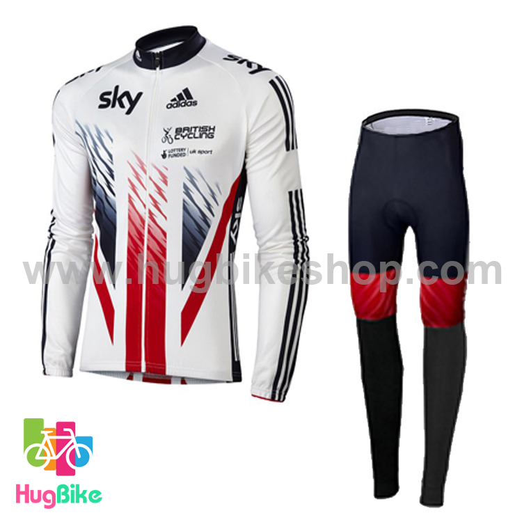 ชุดจักรยานแขนยาวทีม Sky 16 (01) สีขาว ผ้าขนแกะ