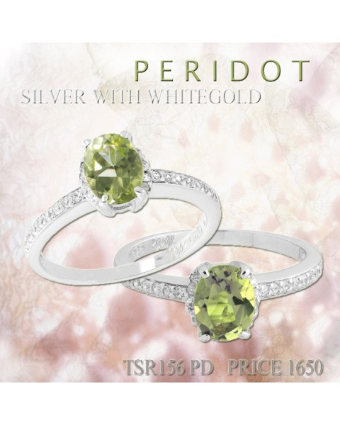 แหวนพลอยประจำวันเกิดวันพุธ ตัวเรือนเงินแท้ ประดับพลอย Peridot (เพอร์ริดอต)