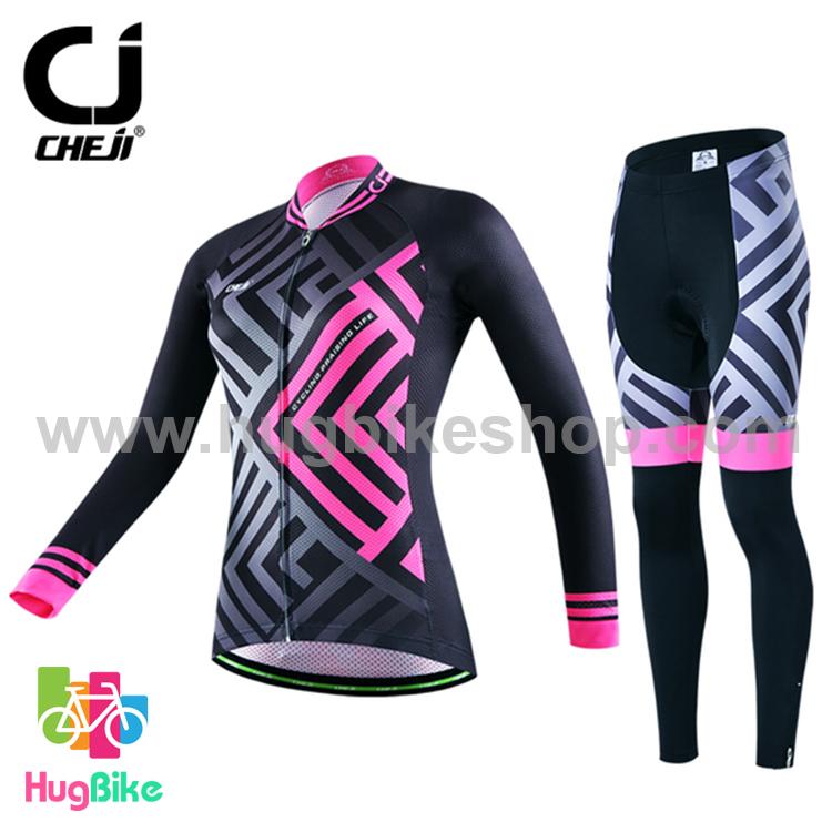 ชุดจักรยานผู้หญิงแขนยาวขายาว CheJi 16 (10) สีดำลายเทาชมพู