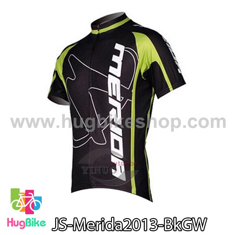 เสื้อจักรยานแขนสั้นทีม Merida 2013 สีดำขีดเขียว สั่งจอง (Pre-order)