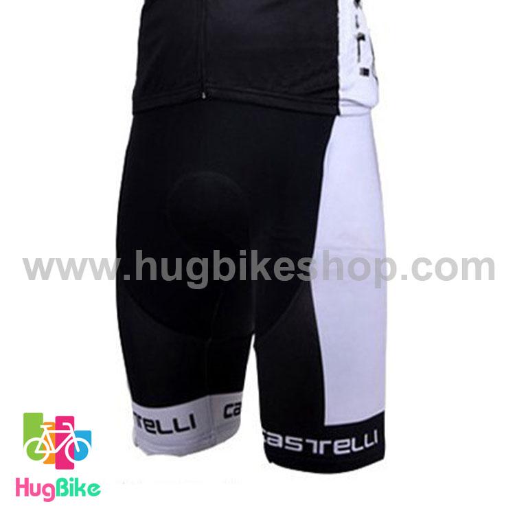 กางเกงจักรยานขาสั้นทีม Castelli 15 (10) สีดำขาว