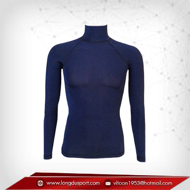 Body Fit / Base Layer เสื้อรัดรูป คอตั้ง แขนยาว สีน้ำเงินเข้ม midnightblue