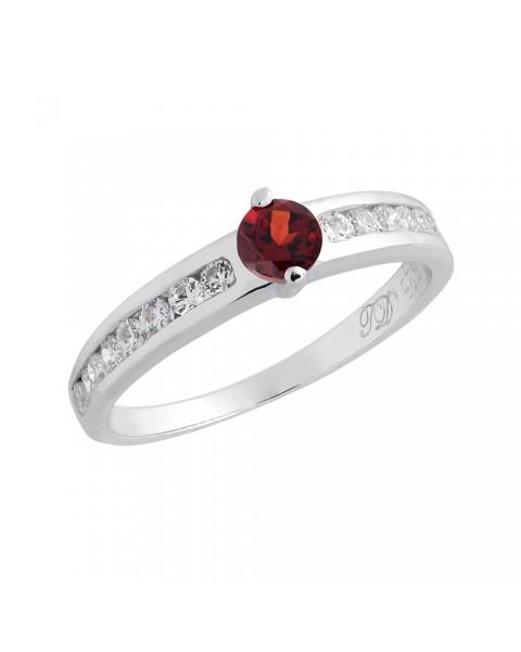 แหวนพลอยประจำวันเกิดวันอาทิตย์ ตัวเรือนเงินแท้ ประดับพลอยโกเมน (Garnet)