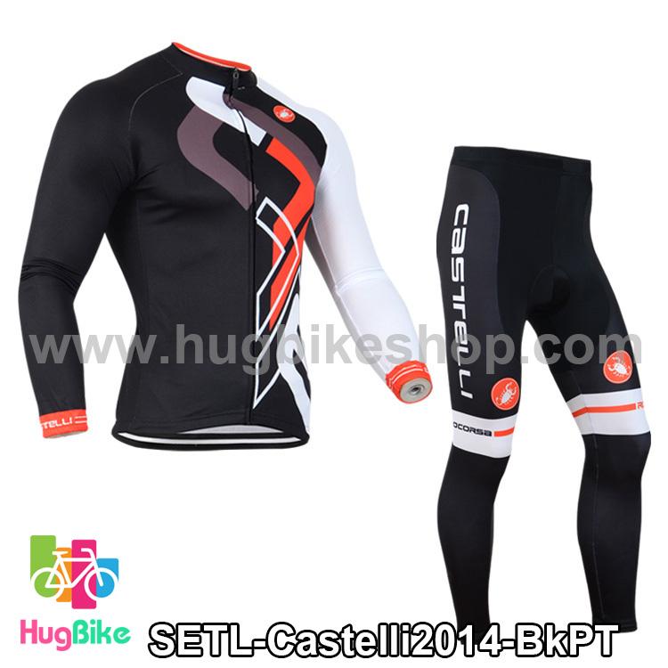 ชุดจักรยานแขนยาวทีม Castelli 14 สีดำลายขาวแดงเทา สั่งจอง (Pre-order)