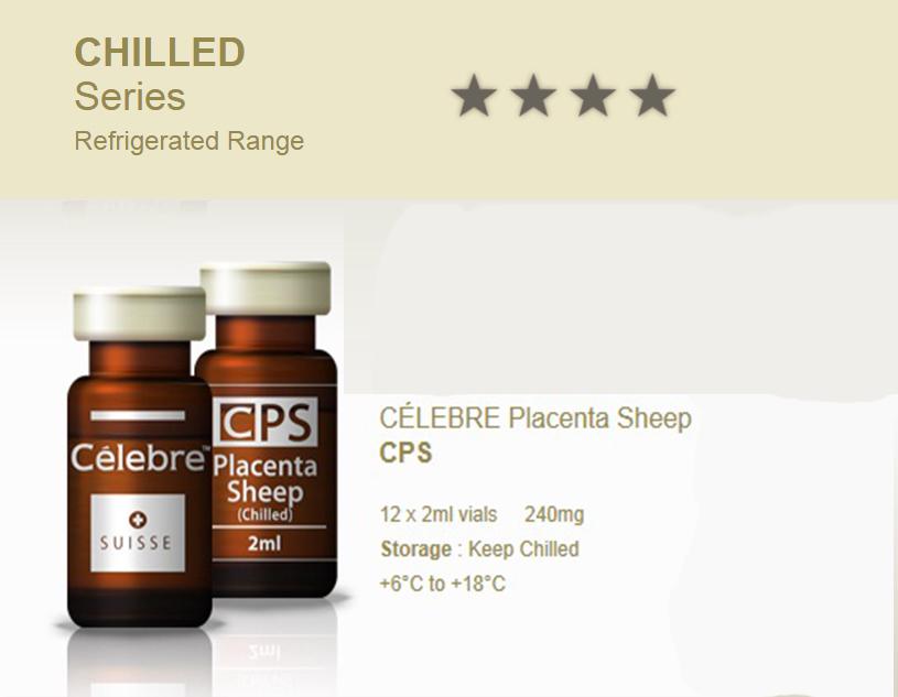CÉLEBRE CPS Placenta Sheep Stem Cell 12 x 2ml vials 240mg เซลล์บำบัดที่ทันสมัยที่สุดในสวิส