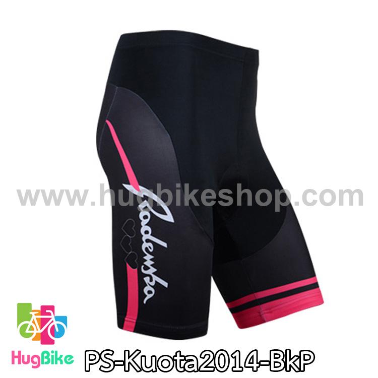 กางเกงจักรยานขาสั้นทีม Kuota 14 สีดำชมพู