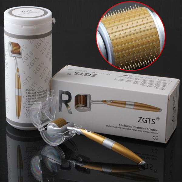 ZGTS Titanium Derrma roller เข็มกลิ้ง รักษาหลุมสิว เดอร์มาโรลเลอร์ from France Micro needle Roller (Gold)