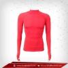 เสื้อรัดกล้ามเนื้อ รุ่นนิ้วสอด แขนยาวคอตั้ง สีแดง red