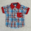 TOMMY : เชิ๊ตลายสก็อต สีฟ้า ปกแดง ผ้านิ่ม size 1 (1.5-2y)