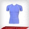 เสื้อรัดกล้ามเนื้อ แขนสั้นคอวี สีฟ้า lightblue