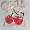 H&M : เสื้อยืด สกรีนลาย คิตตี้เชอรี่ แขนตุ๊กตาผ้าแก้ว สีครีม size 4-6y