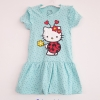 Hello Kitty : เดรสคิตตี้ ดอกไม้ สีฟ้าลายจุด size 1-2y