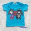 H&M : เสื้อยืด สกรีนลาย Batman&Superman สีฟ้าอมเขียว size : 2-4y / 4-6y / 6-8y