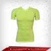 เสื้อรัดกล้ามเนื้อ แขนสั้นคอวี สีเขียว lawngreen