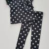 H&M : set เสื้อ+เลกกิ้ง สีดำ ลายจุด (งานป้าย) size : 2-3y