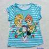 H&M : เสื้อยืดสกรีนลาย Elsa&Anna สีฟ้าลายขวาง Size : 1-2y / 2-3y / 3-4y