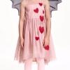 H&M : เดรสผ้าชีฟอง คลุมด้วยผ้าตาข่ายเนื้อนิ่ม ปักผ้าลายหัวใจสีแดง size : 2-4y