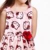 H&M : เดรสผ้าชีฟอง พิมพ์ลายคิตตี้ สีชมพูอ่อน ติดดอกไม้ที่เอว size : 1-2y