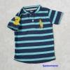 Polo : เสื้อยืดลายขวาง สีน้ำเงิน-ฟ้า คอติดกระดุม แขนปักเลข 3 size : 2T