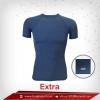 เสื้อรัดกล้ามเนื้อ แขนสั้นคอกลม สีเทา-น้ำเงิน Royalblue รุ่น extra (สุดยอดผ้ายืดผิวผ้าลื่น)