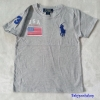Polo : เสื้อยืด ปักลายธงชาติ USA สีเทา size : 4-6y / 8-10y