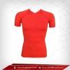 เสื้อรัดกล้ามเนื้อ แขนสั้นคอวี สีแดง