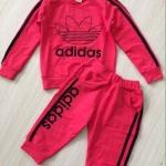 ชุดเซ็ท เสื้อแขนยาว + กางเกงขายาว adidas สีชมพูอมส้ม size : 7y