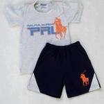 POLO : เซ็ท เสื้อสีเทา + กางเกงขาสั้นสีน้ำเงินเข้ม ปักม้าโปโล size 1y / 7y