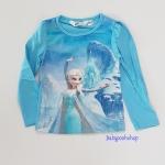 H&M : เสื้อยืดแขนยาว ลายเอลซ่า สีฟ้า size : 1-2y