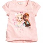 H&M : เสื้อยืด สกรีนลาย เจ้าหญิง Frozen สีชมพู (งานช้อป) size : 1-2y / 6-8y
