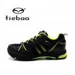 รองเท้าจักรยานเสือภูเขาแบบผ้าใบ TIEBAO รุ่น TB22-B1334 สีดำเขียว สายเชือกหัวบิดรัดสายออโต้