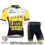 ชุดจักรยานแขนสั้นทีม Bianchi 15 (01) สีเหลืองขาวดำ