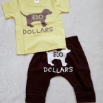 Aime'e : set เสื้อ+กางเกง ลาย Dollars สีเหลือง+น้ำตาล size : 1T / 3T