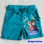 H&M : กางเกงขาสั้น ผ้า cotton ยืด สกรีนลาย Frozen สีเขียว size 1-2y