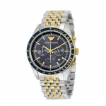 นาฬิกาข้อมือ Emporio Armani Navy Blue Dial Chronograph Two Tone Stainless Steel Men's Watch AR6088 Size 46 mm