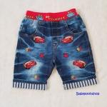 กางเกงยีนส์ขาสามส่วน ปักลาย McQueen size : 100 / 120 / 130