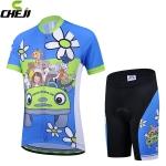 ชุดจักรยานเด็กแขนสั้นขาสั้น CheJi สีฟ้าลายการ์ตูน สั่งจอง (Pre-order)