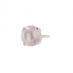 ต่างหูพลอยประจำวันเกิดวันอังคาร ตัวเรือนเงินแท้ ประดับพลอย Rose quartz (โรสควอตซ์)