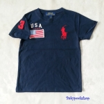 Polo : เสื้อยืด ปักลายธงชาติ USA สีกรม size 2-4y / 4-6y