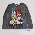 H&M : เสื้อยืดแขนยาว ลาย Monster สีเทาดำ size : 12-14y (สินค้ามีตำหนิ สกรีนมีรอยแตก)