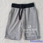 กางเกงขาสั้น เอวยืด สกรีน LA สีเทา มีกระเป๋าข้าง size : 2-4y / 4-6y / 8-10y