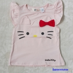 H&M : เสื้อยืด ผ้า cotton หน้าคิตตี้ Hello Kitty สีชมพูอ่อน size : 1-2y