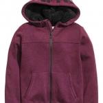 H&M : เสื้อกันหนาว ซิปหน้า หมวกบุขนหนา สีม่วงเข้ม Size : 8-10Y
