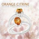 แหวนพลอยประจำวันเกิดวันพฤหัส ตัวเรือนเงินแท้ ประดับพลอยOrange citrine (ออเรนส์ ซิทริน)